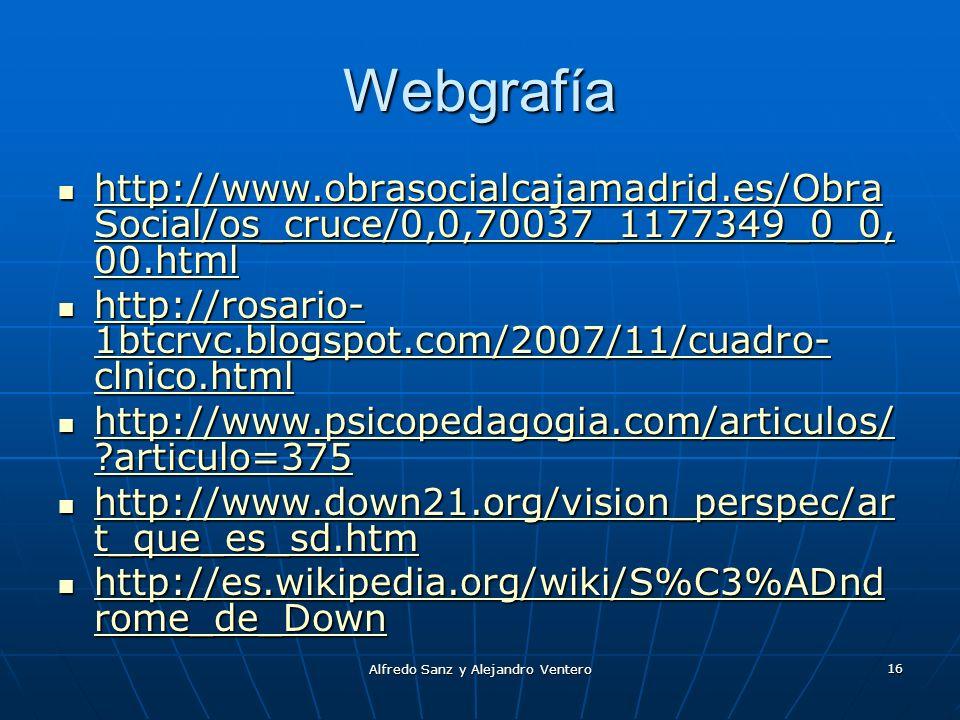 Alfredo Sanz y Alejandro Ventero 16 Webgrafía http://www.obrasocialcajamadrid.es/Obra Social/os_cruce/0,0,70037_1177349_0_0, 00.html http://www.obraso