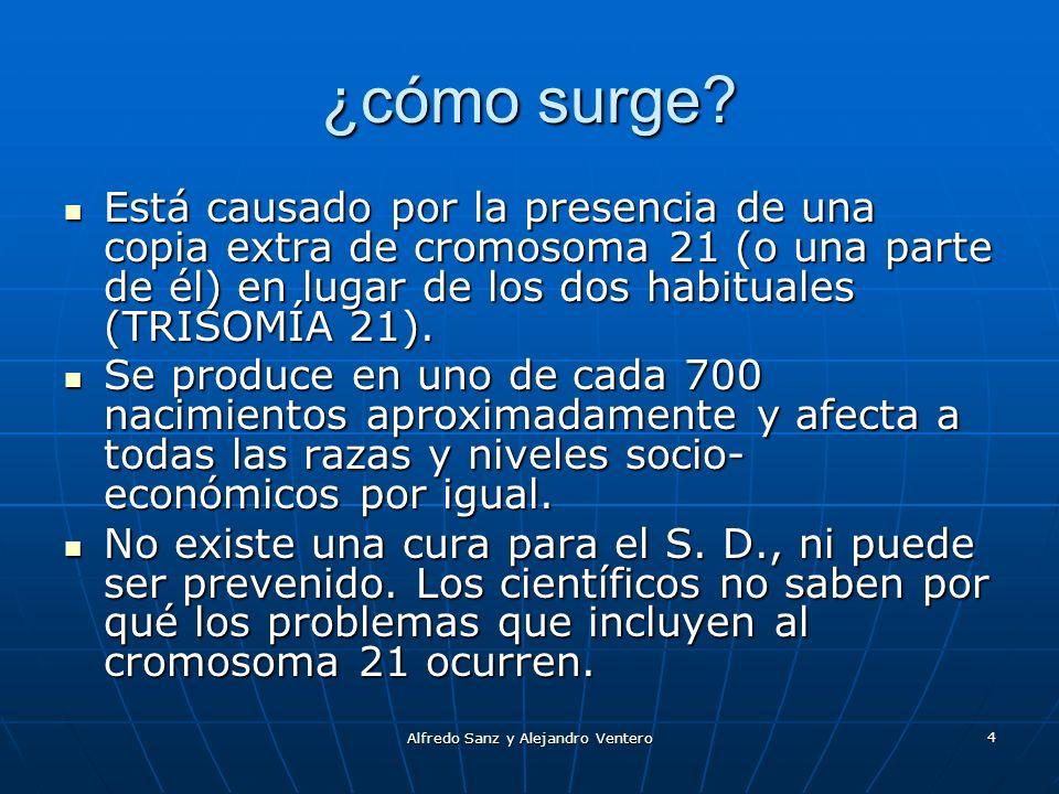 Alfredo Sanz y Alejandro Ventero 4 ¿cómo surge? Está causado por la presencia de una copia extra de cromosoma 21 (o una parte de él) en lugar de los d