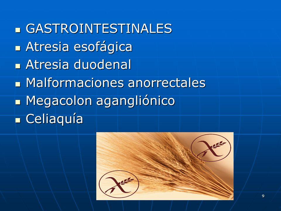 9 GASTROINTESTINALES GASTROINTESTINALES Atresia esofágica Atresia esofágica Atresia duodenal Atresia duodenal Malformaciones anorrectales Malformacion
