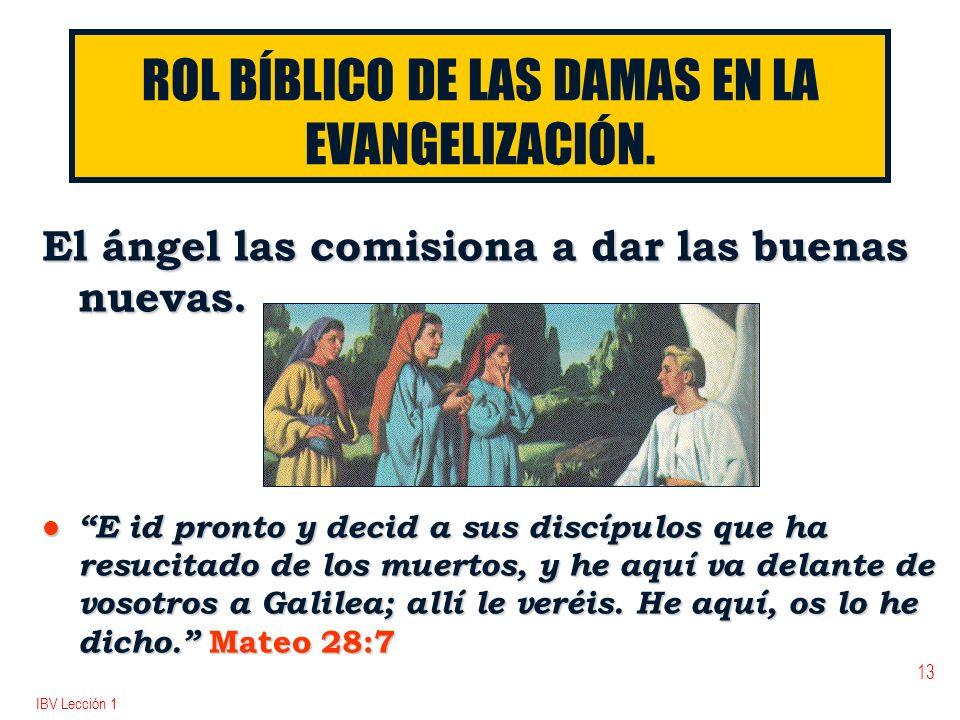 IBV Lección 1 13 ROL BÍBLICO DE LAS DAMAS EN LA EVANGELIZACIÓN. El ángel las comisiona a dar las buenas nuevas. l E id pronto y decid a sus discípulos