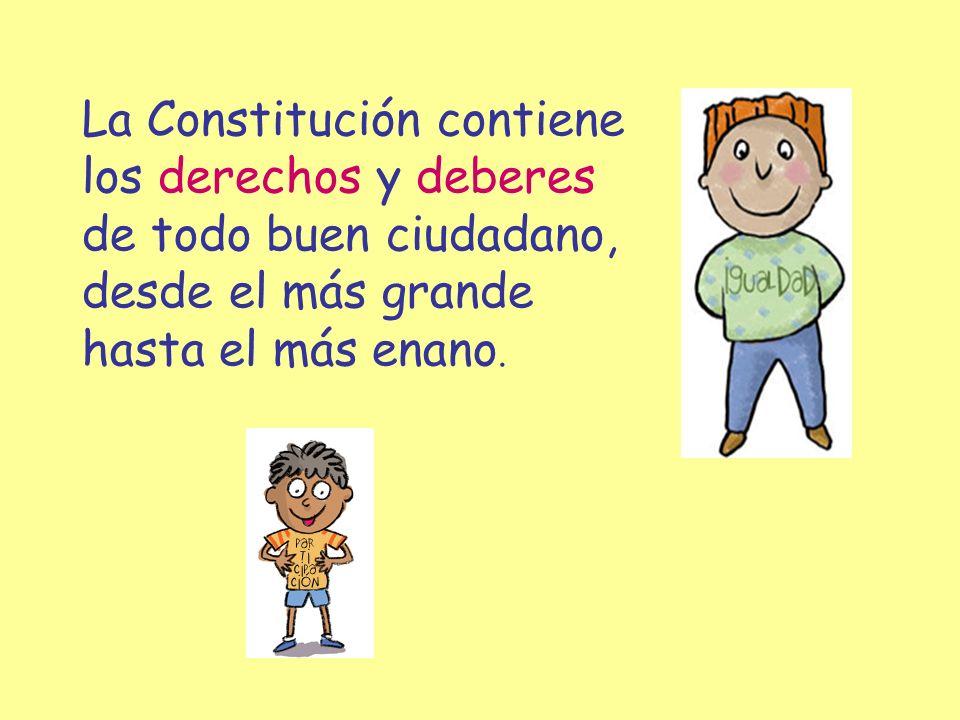 La Constitución contiene los derechos y deberes de todo buen ciudadano, desde el más grande hasta el más enano.