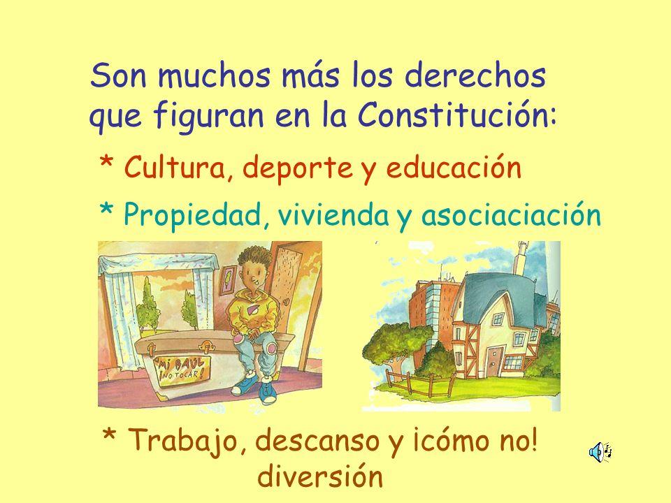 Son muchos más los derechos que figuran en la Constitución: * Cultura, deporte y educación * Propiedad, vivienda y asociaciación * Trabajo, descanso y