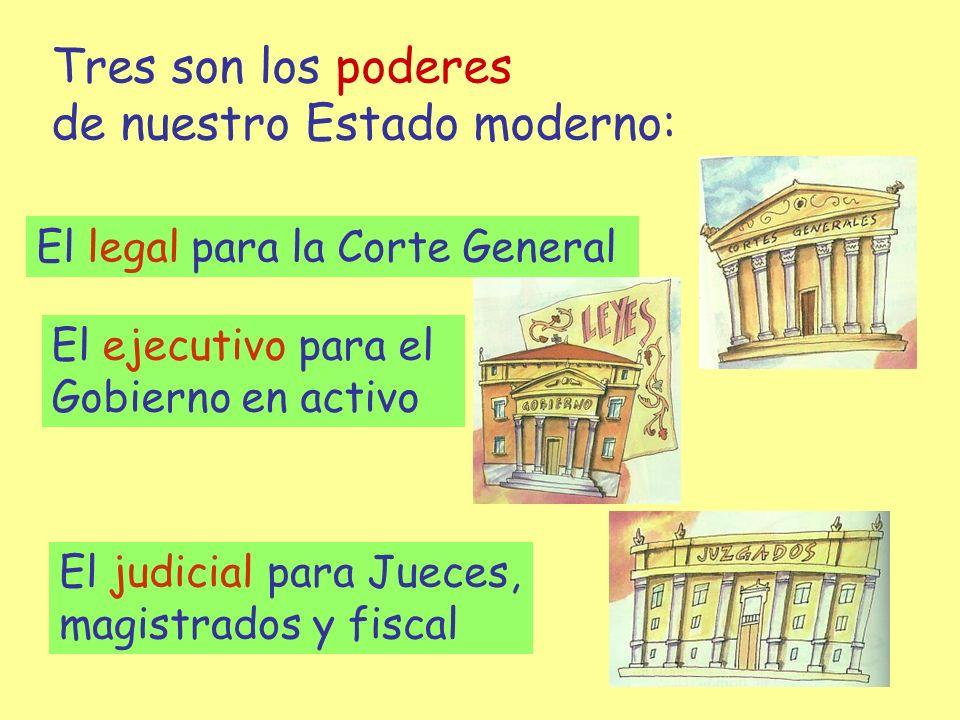 Tres son los poderes de nuestro Estado moderno: El legal para la Corte General El ejecutivo para el Gobierno en activo El judicial para Jueces, magist