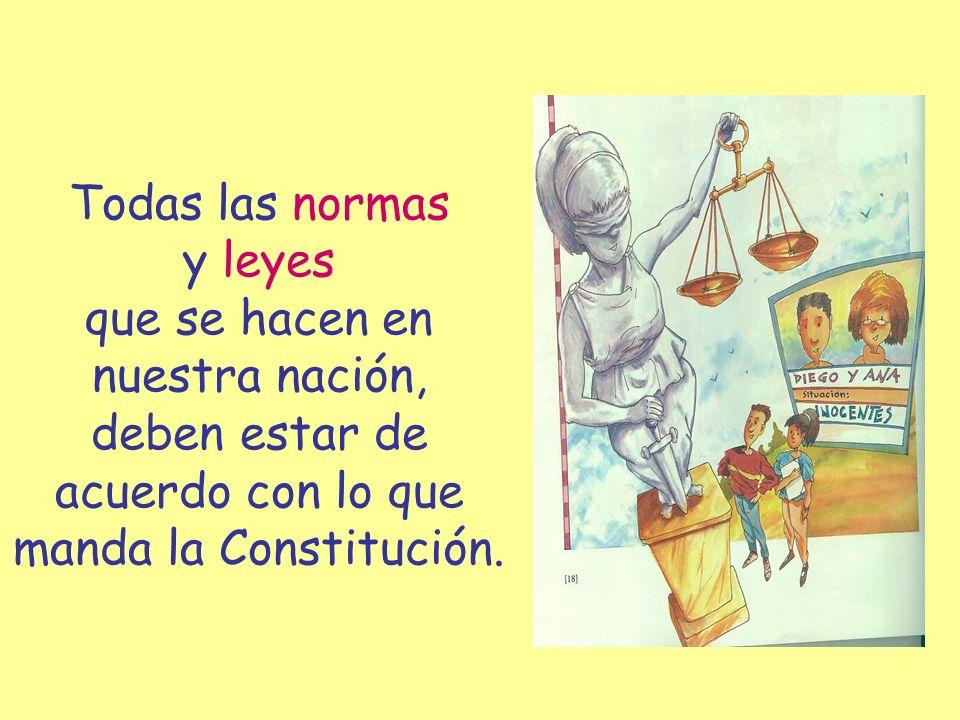 Todas las normas y leyes que se hacen en nuestra nación, deben estar de acuerdo con lo que manda la Constitución.