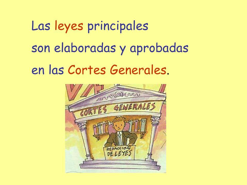 Las leyes principales son elaboradas y aprobadas en las Cortes Generales.