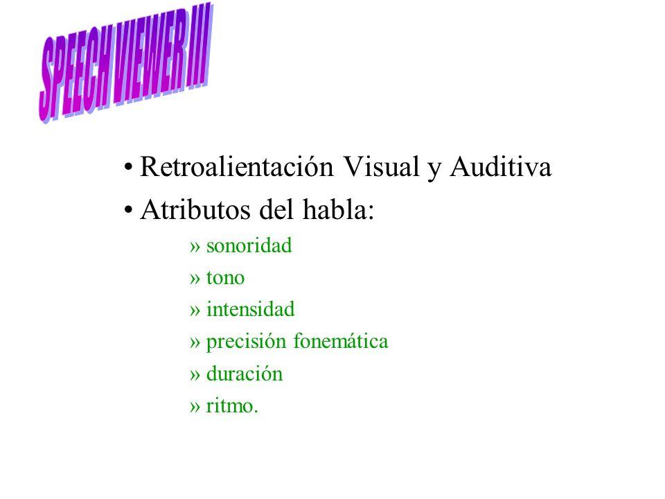Retroalientación Visual y Auditiva Atributos del habla: »sonoridad »tono »intensidad »precisión fonemática »duración »ritmo.