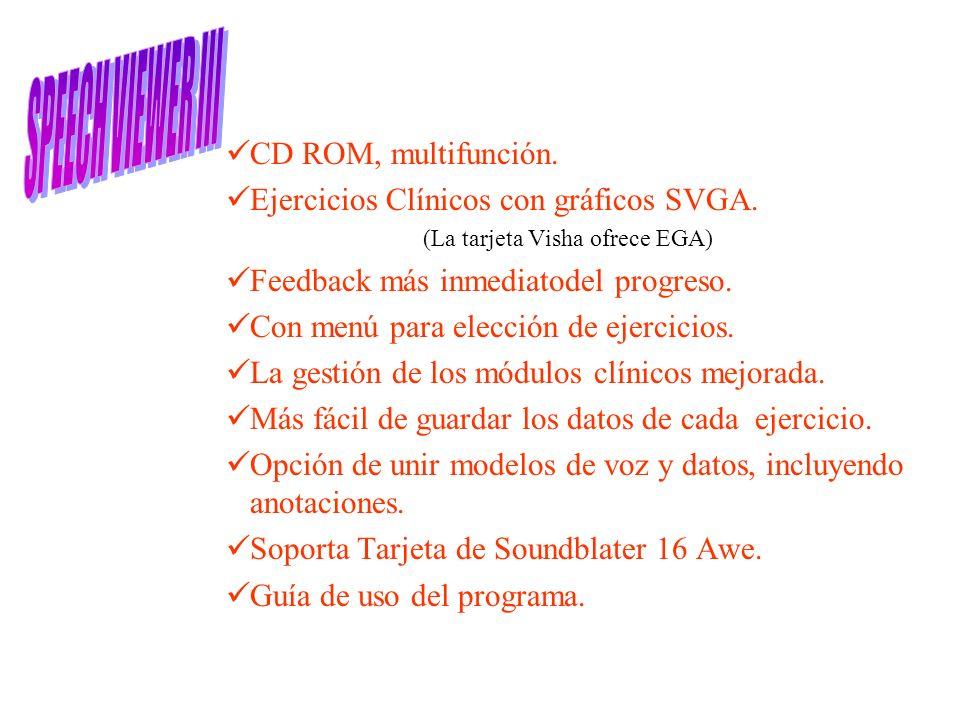 CD ROM, multifunción. Ejercicios Clínicos con gráficos SVGA. (La tarjeta Visha ofrece EGA) Feedback más inmediatodel progreso. Con menú para elección