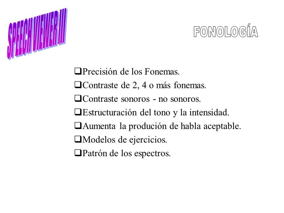 Precisión de los Fonemas. Contraste de 2, 4 o más fonemas. Contraste sonoros - no sonoros. Estructuración del tono y la intensidad. Aumenta la produci