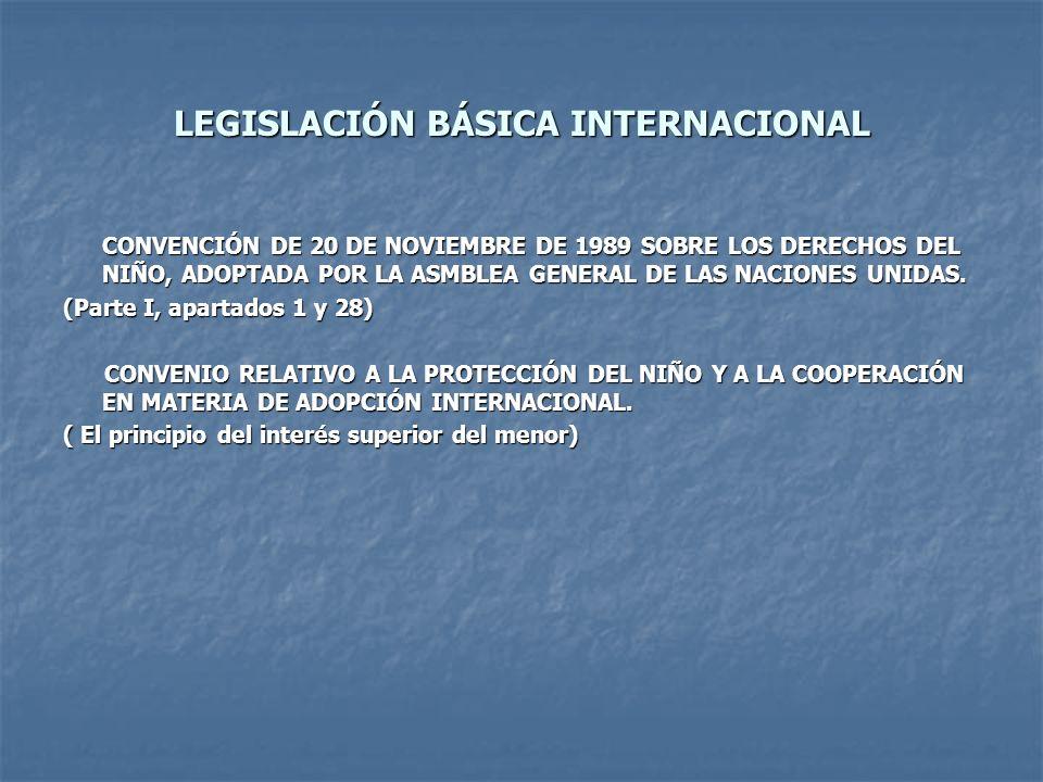 LEGISLACIÓN BÁSICA INTERNACIONAL CONVENCIÓN DE 20 DE NOVIEMBRE DE 1989 SOBRE LOS DERECHOS DEL NIÑO, ADOPTADA POR LA ASMBLEA GENERAL DE LAS NACIONES UN