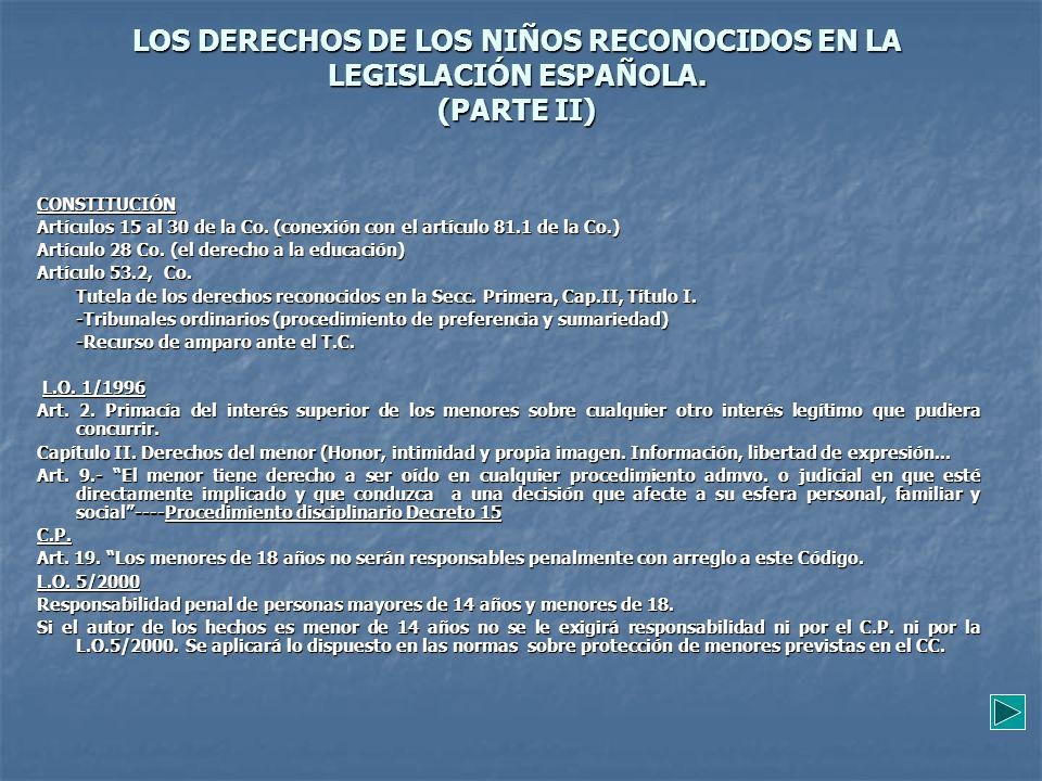 LOS DERECHOS DE LOS NIÑOS RECONOCIDOS EN LA LEGISLACIÓN ESPAÑOLA. (PARTE II) CONSTITUCIÓN Artículos 15 al 30 de la Co. (conexión con el artículo 81.1