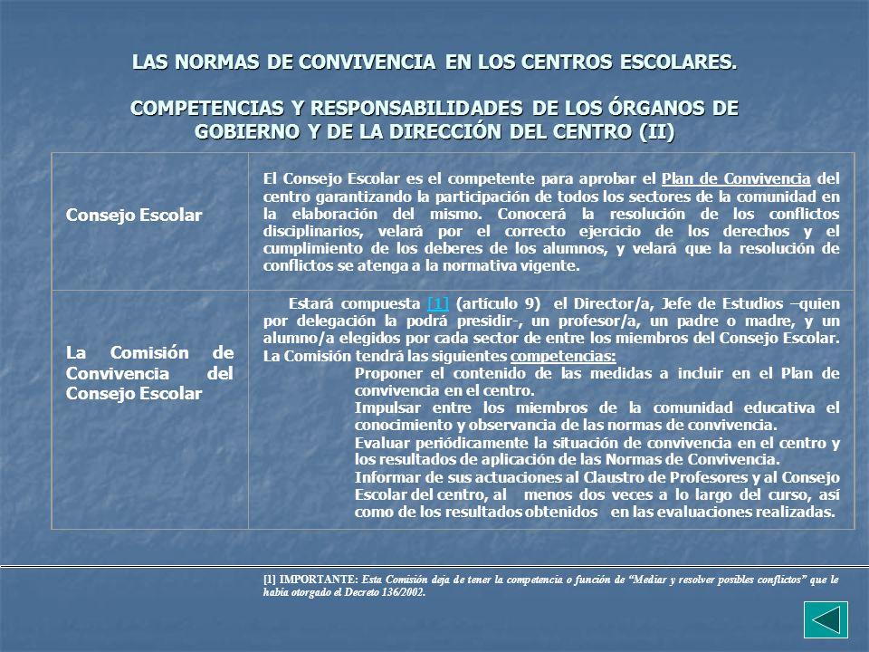 LAS NORMAS DE CONVIVENCIA EN LOS CENTROS ESCOLARES. COMPETENCIAS Y RESPONSABILIDADES DE LOS ÓRGANOS DE GOBIERNO Y DE LA DIRECCIÓN DEL CENTRO (II) Cons