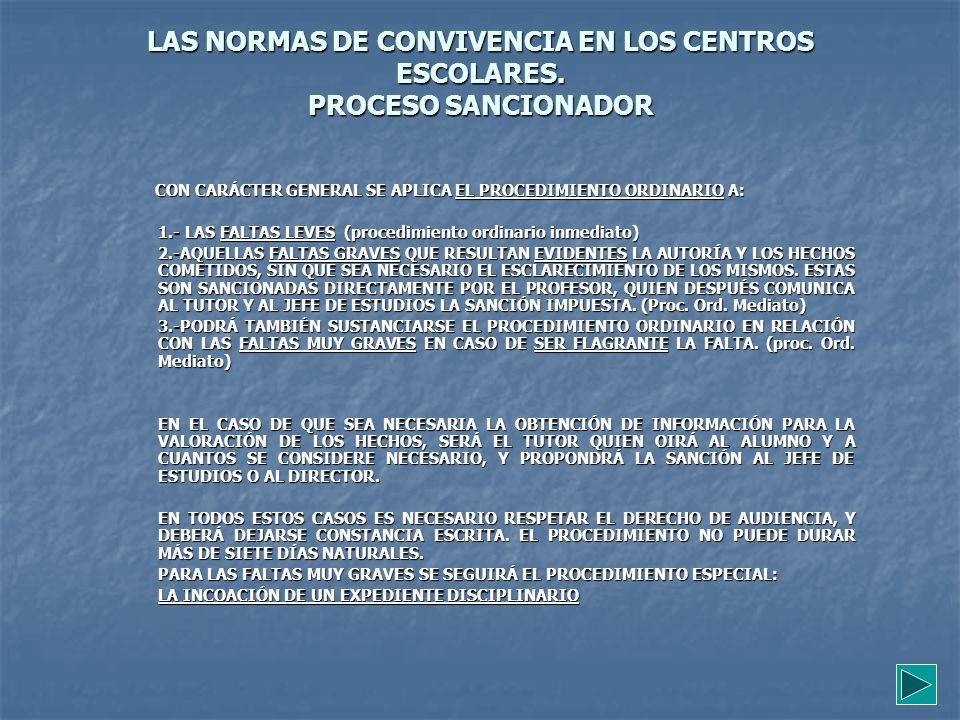 LAS NORMAS DE CONVIVENCIA EN LOS CENTROS ESCOLARES. PROCESO SANCIONADOR CON CARÁCTER GENERAL SE APLICA EL PROCEDIMIENTO ORDINARIO A: CON CARÁCTER GENE