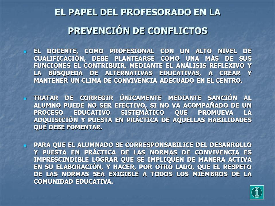 EL PAPEL DEL PROFESORADO EN LA PREVENCIÓN DE CONFLICTOS EL DOCENTE, COMO PROFESIONAL CON UN ALTO NIVEL DE CUALIFICACIÓN, DEBE PLANTEARSE COMO UNA MÁS