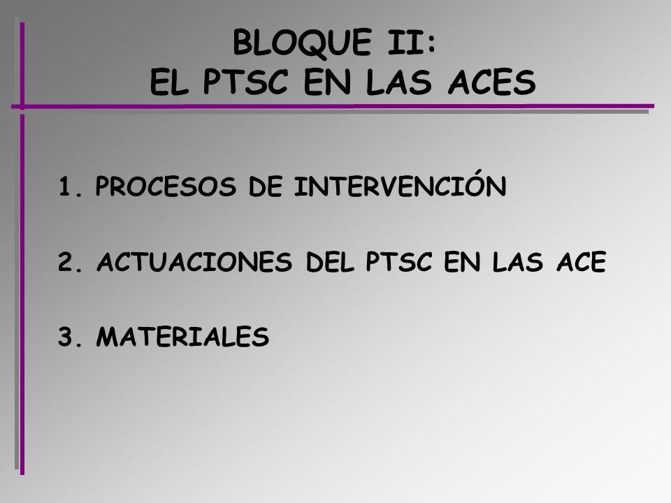 BLOQUE II: EL PTSC EN LAS ACES 1. PROCESOS DE INTERVENCIÓN 2. ACTUACIONES DEL PTSC EN LAS ACE 3. MATERIALES