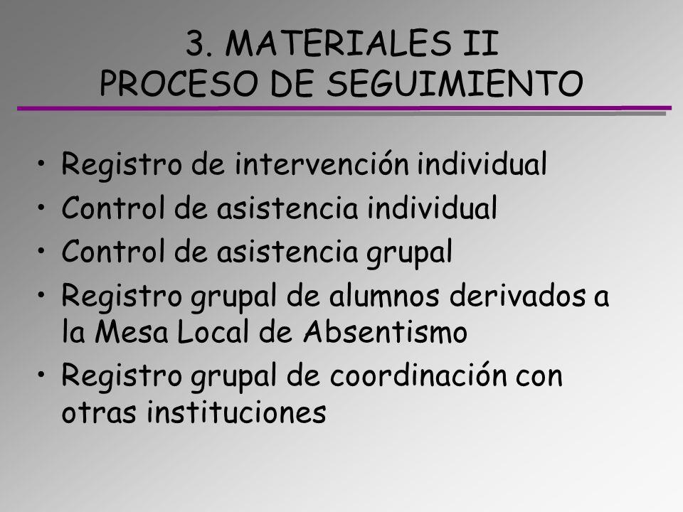 3. MATERIALES II PROCESO DE SEGUIMIENTO Registro de intervención individual Control de asistencia individual Control de asistencia grupal Registro gru