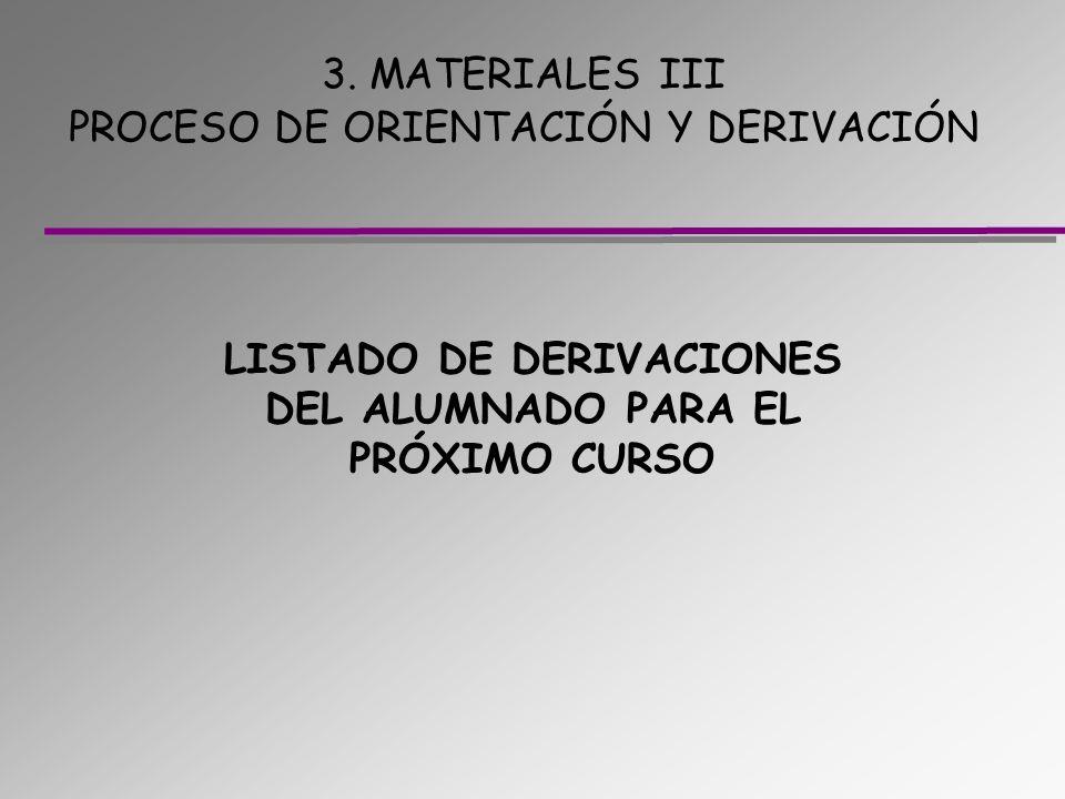3. MATERIALES III PROCESO DE ORIENTACIÓN Y DERIVACIÓN LISTADO DE DERIVACIONES DEL ALUMNADO PARA EL PRÓXIMO CURSO