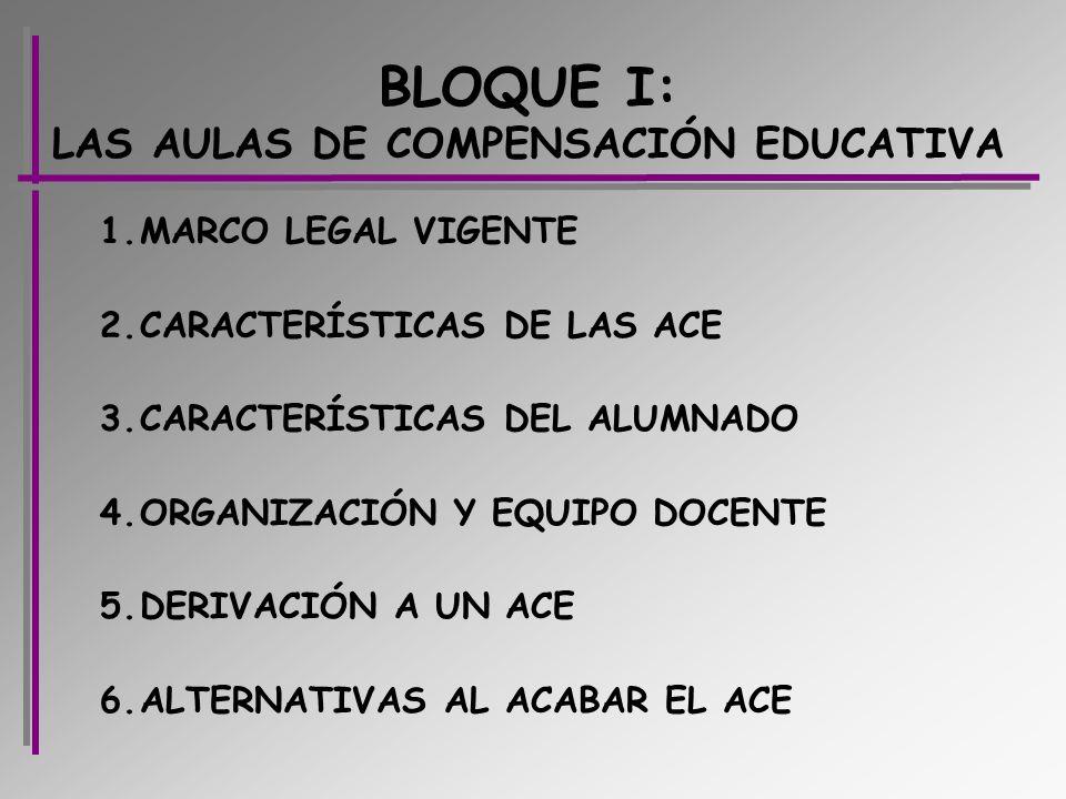 BLOQUE I: LAS AULAS DE COMPENSACIÓN EDUCATIVA 1.MARCO LEGAL VIGENTE 2.CARACTERÍSTICAS DE LAS ACE 3.CARACTERÍSTICAS DEL ALUMNADO 4.ORGANIZACIÓN Y EQUIP