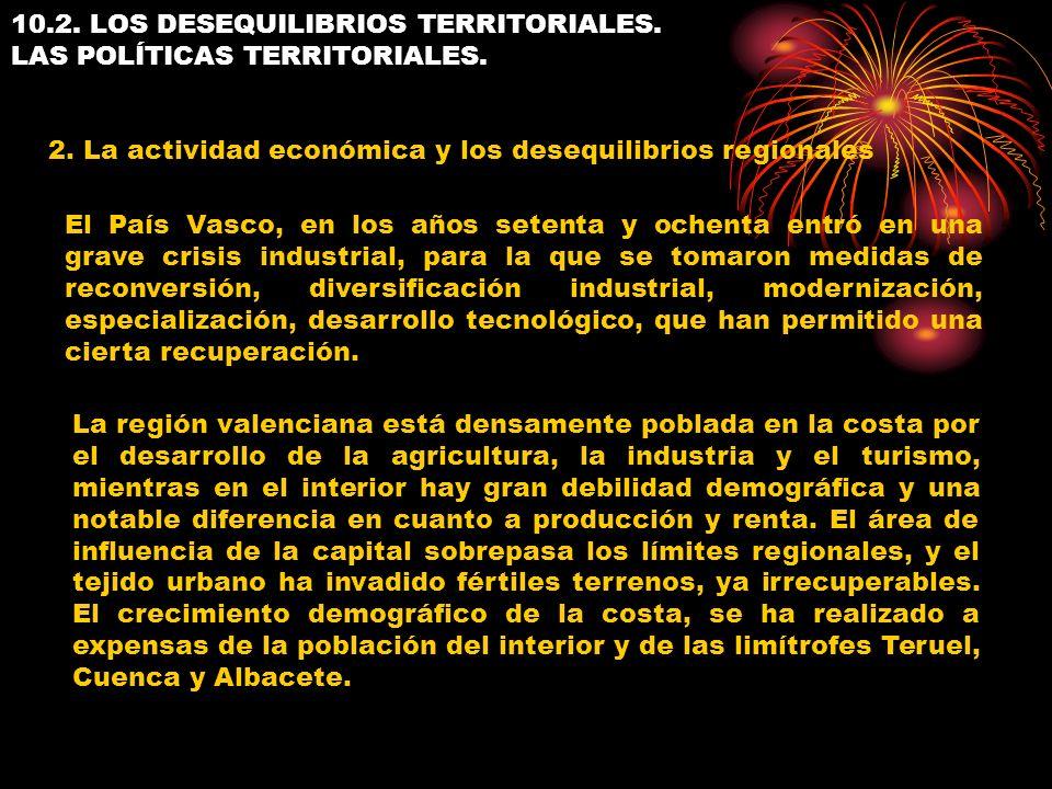 10.2. LOS DESEQUILIBRIOS TERRITORIALES. LAS POLÍTICAS TERRITORIALES. 2. La actividad económica y los desequilibrios regionales El País Vasco, en los a