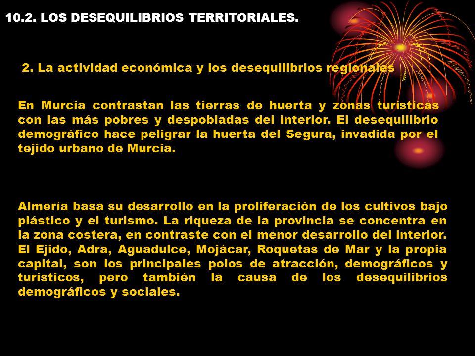 10.2. LOS DESEQUILIBRIOS TERRITORIALES. 2. La actividad económica y los desequilibrios regionales En Murcia contrastan las tierras de huerta y zonas t