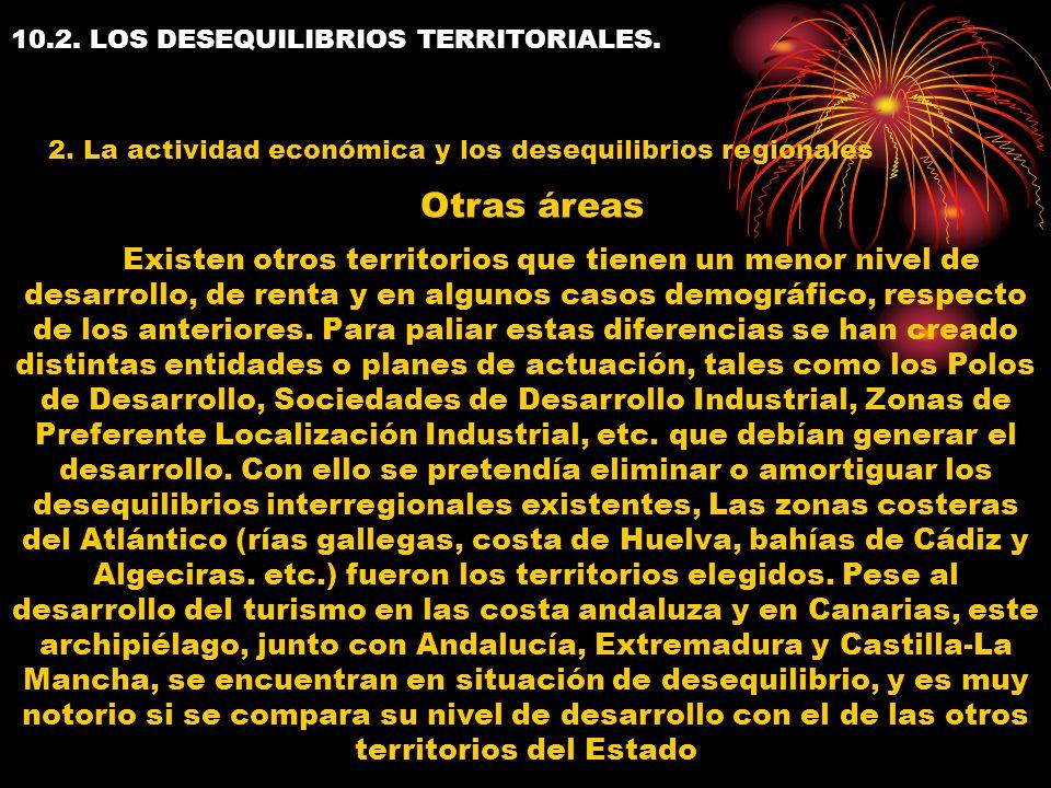 10.2. LOS DESEQUILIBRIOS TERRITORIALES. 2. La actividad económica y los desequilibrios regionales Existen otros territorios que tienen un menor nivel