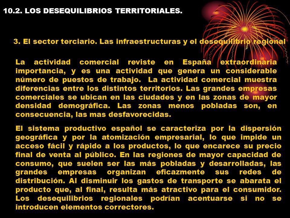 10.2. LOS DESEQUILIBRIOS TERRITORIALES. 3. El sector terciario. Las infraestructuras y el desequilibrio regional La actividad comercial reviste en Esp