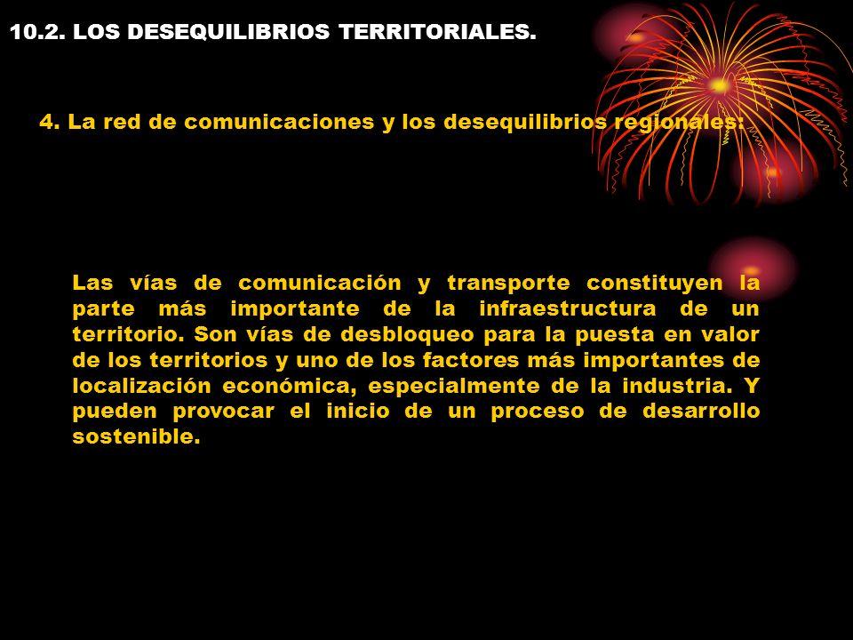 10.2. LOS DESEQUILIBRIOS TERRITORIALES. 4. La red de comunicaciones y los desequilibrios regionales: Las vías de comunicación y transporte constituyen