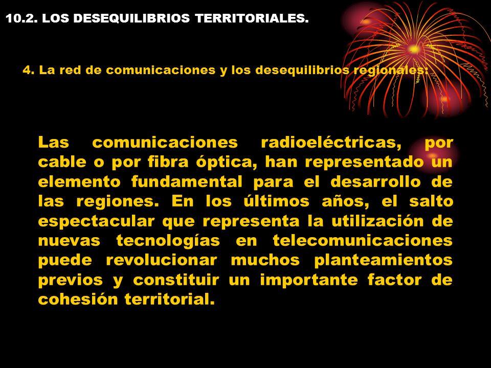 10.2. LOS DESEQUILIBRIOS TERRITORIALES. 4. La red de comunicaciones y los desequilibrios regionales: Las comunicaciones radioeléctricas, por cable o p
