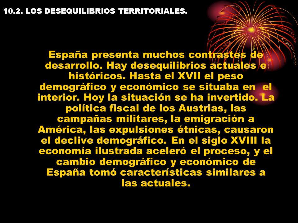 10.2. LOS DESEQUILIBRIOS TERRITORIALES. España presenta muchos contrastes de desarrollo. Hay desequilibrios actuales e históricos. Hasta el XVII el pe