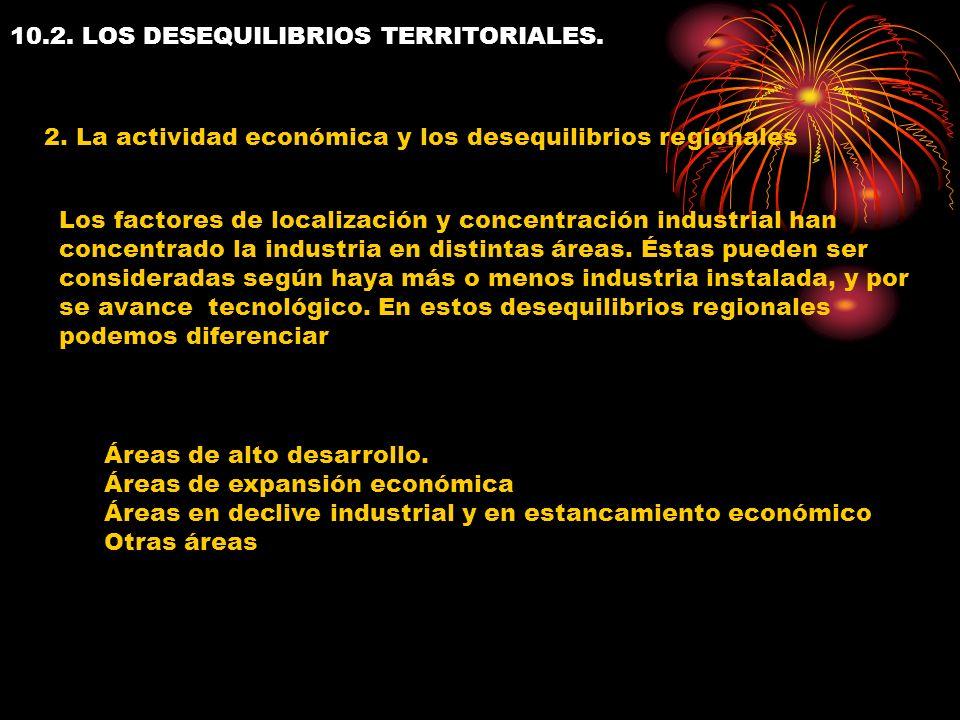 10.2. LOS DESEQUILIBRIOS TERRITORIALES. 2. La actividad económica y los desequilibrios regionales Los factores de localización y concentración industr