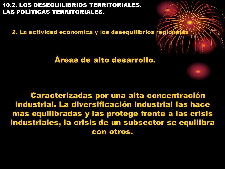 10.2. LOS DESEQUILIBRIOS TERRITORIALES. LAS POLÍTICAS TERRITORIALES. 2. La actividad económica y los desequilibrios regionales Caracterizadas por una