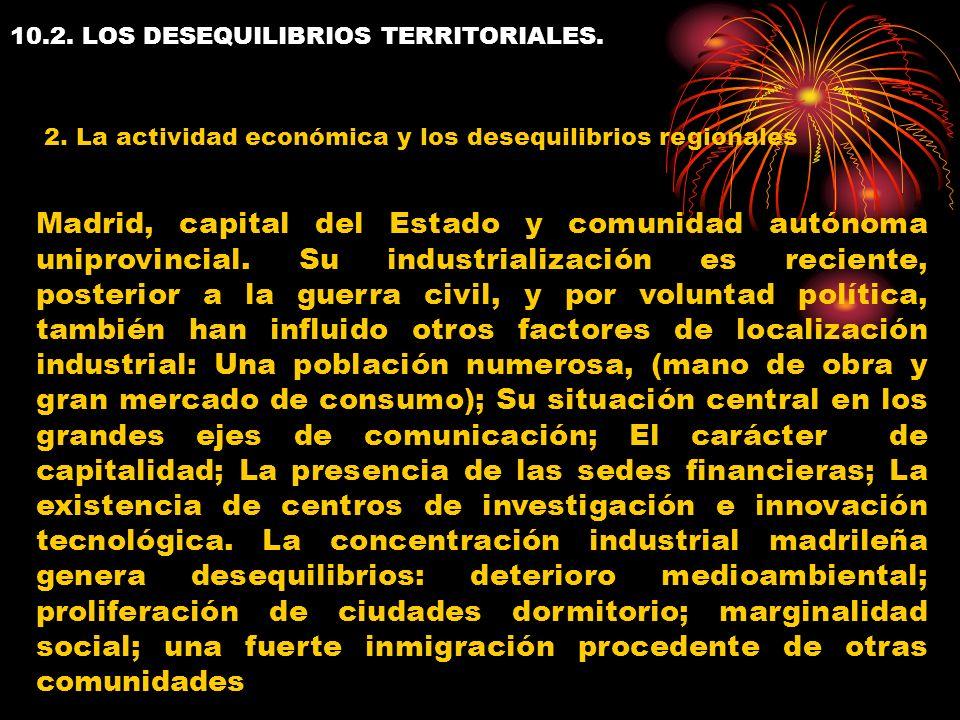 10.2. LOS DESEQUILIBRIOS TERRITORIALES. 2. La actividad económica y los desequilibrios regionales Madrid, capital del Estado y comunidad autónoma unip