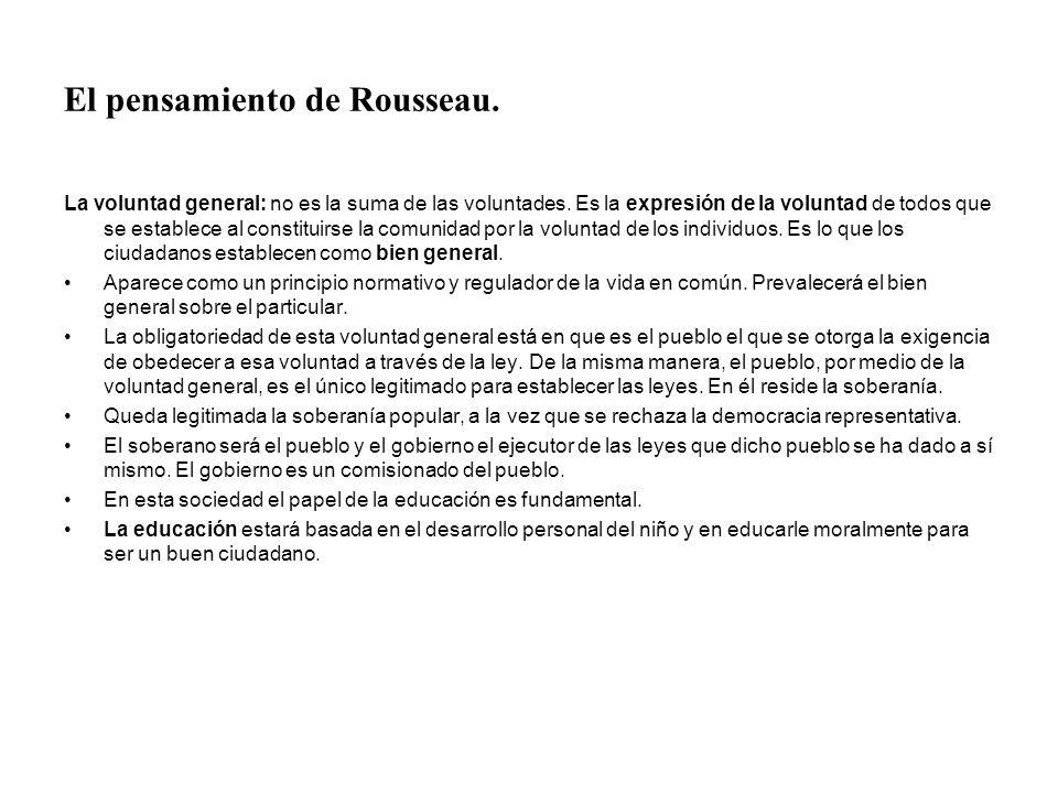 El pensamiento de Rousseau. La voluntad general: no es la suma de las voluntades. Es la expresión de la voluntad de todos que se establece al constitu