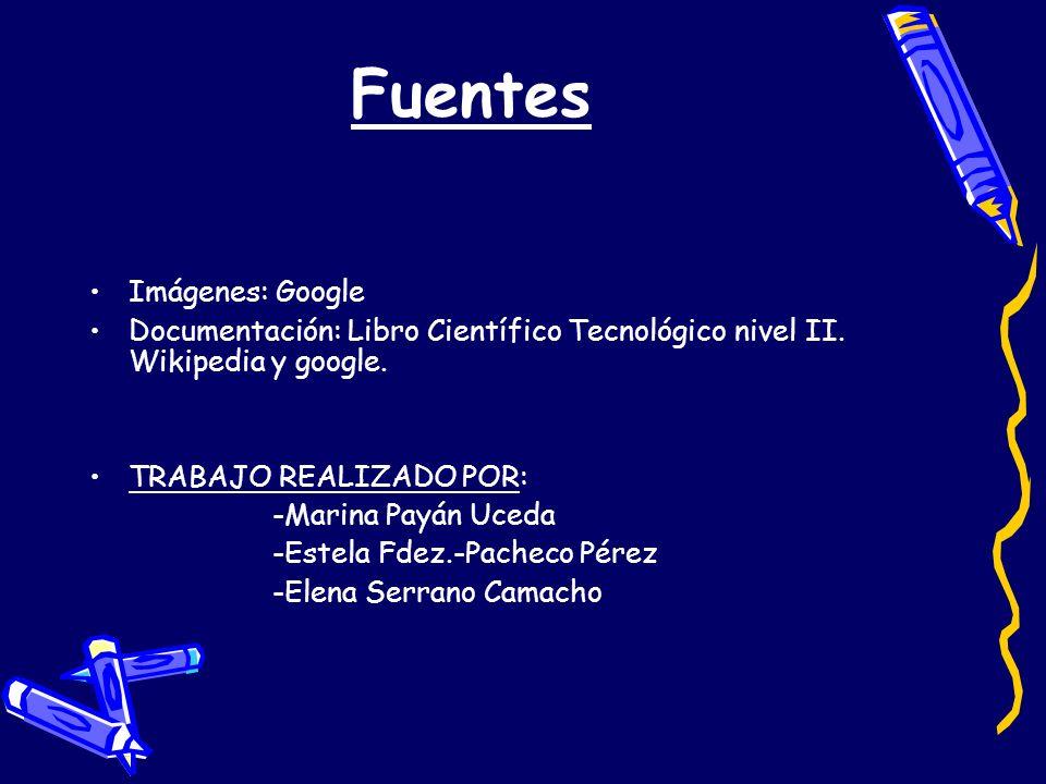 Fuentes Imágenes: Google Documentación: Libro Científico Tecnológico nivel II. Wikipedia y google. TRABAJO REALIZADO POR: -Marina Payán Uceda -Estela