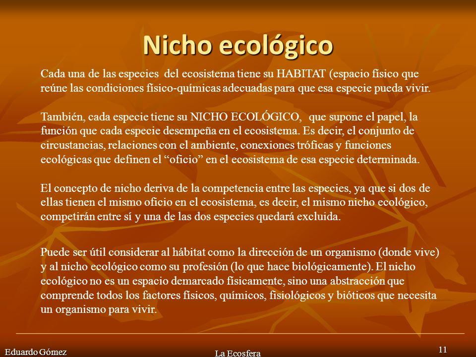 Nicho ecológico Eduardo Gómez La Ecosfera 11 Cada una de las especies del ecosistema tiene su HABITAT (espacio físico que reúne las condiciones físico