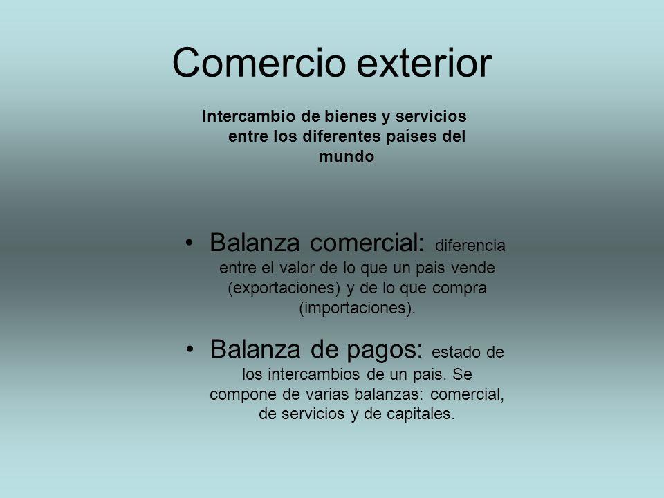 Comercio exterior Balanza comercial: diferencia entre el valor de lo que un pais vende (exportaciones) y de lo que compra (importaciones). Balanza de