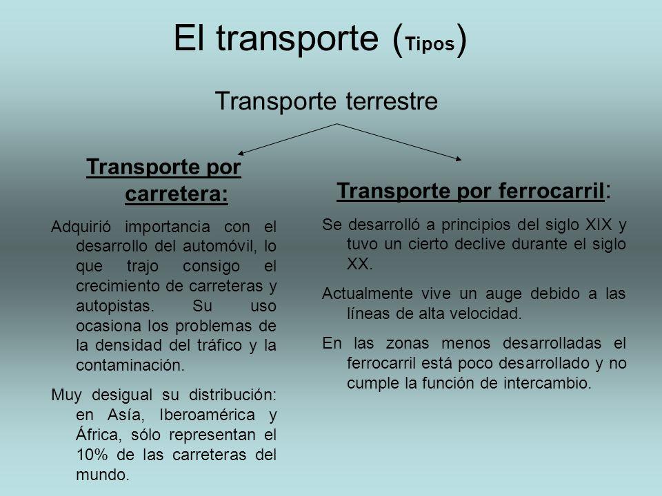 El transporte ( Tipos ) Transporte por carretera: Adquirió importancia con el desarrollo del automóvil, lo que trajo consigo el crecimiento de carrete
