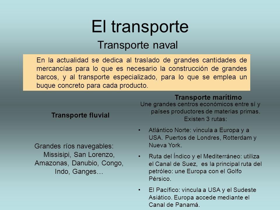 El transporte Transporte naval En la actualidad se dedica al traslado de grandes cantidades de mercancías para lo que es necesario la construcción de