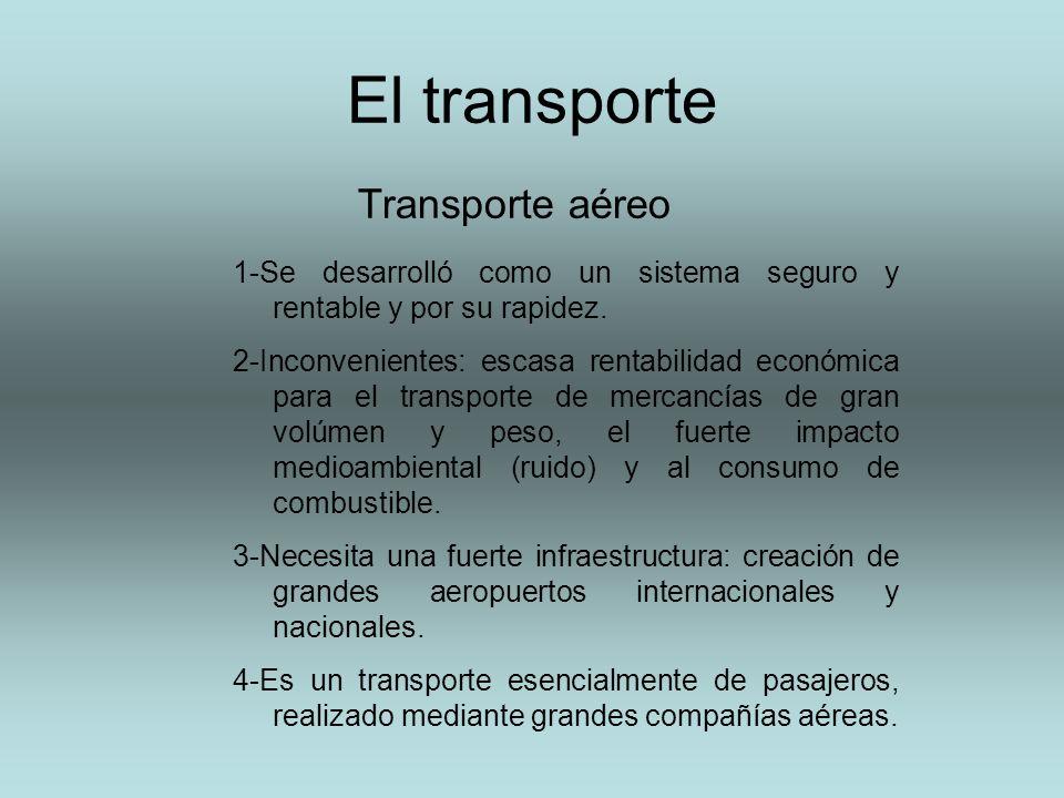 El transporte Transporte aéreo 1-Se desarrolló como un sistema seguro y rentable y por su rapidez. 2-Inconvenientes: escasa rentabilidad económica par