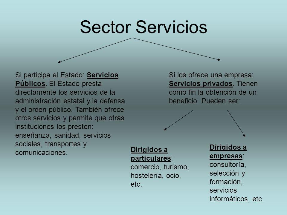 Sector Servicios Si participa el Estado: Servicios Públicos. El Estado presta directamente los servicios de la administración estatal y la defensa y e
