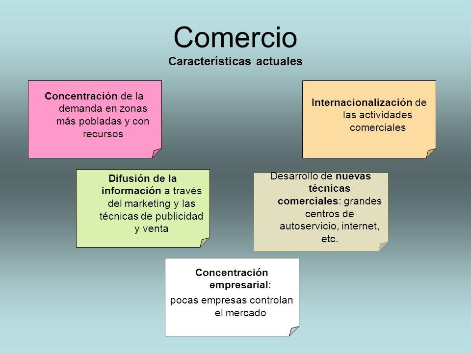 Comercio Características actuales Concentración de la demanda en zonas más pobladas y con recursos Internacionalización de las actividades comerciales