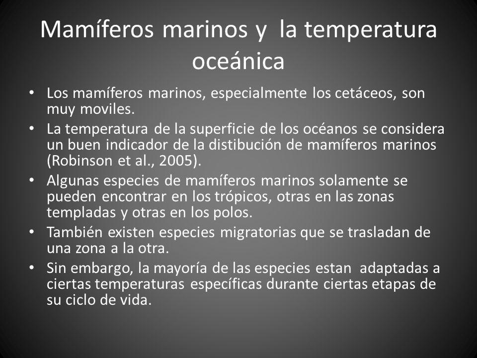 Mamíferos marinos y la temperatura oceánica Los mamíferos marinos, especialmente los cetáceos, son muy moviles. La temperatura de la superficie de los