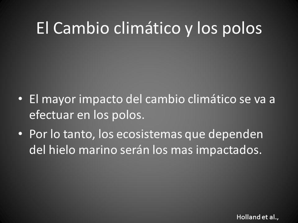 El Cambio climático y los polos El mayor impacto del cambio climático se va a efectuar en los polos. Por lo tanto, los ecosistemas que dependen del hi