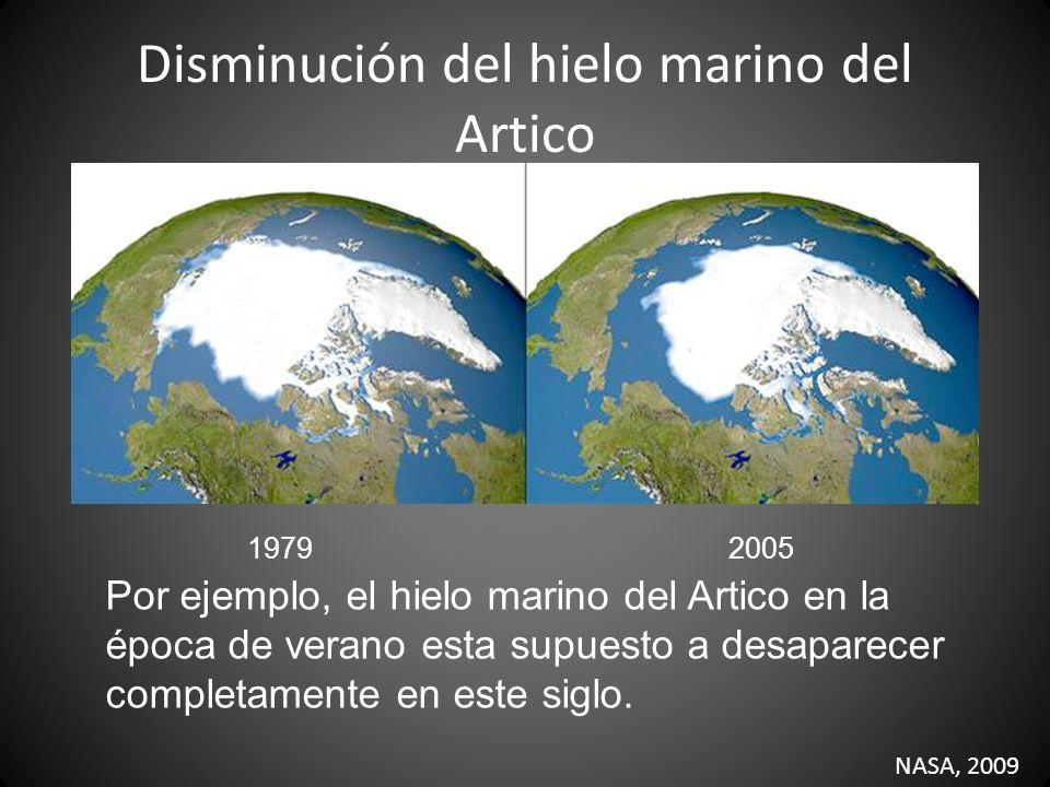 Disminución del hielo marino del Artico 19792005 NASA, 2009 Por ejemplo, el hielo marino del Artico en la época de verano esta supuesto a desaparecer