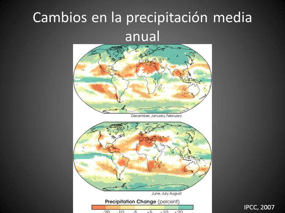 Cambios en la precipitación media anual IPCC, 2007