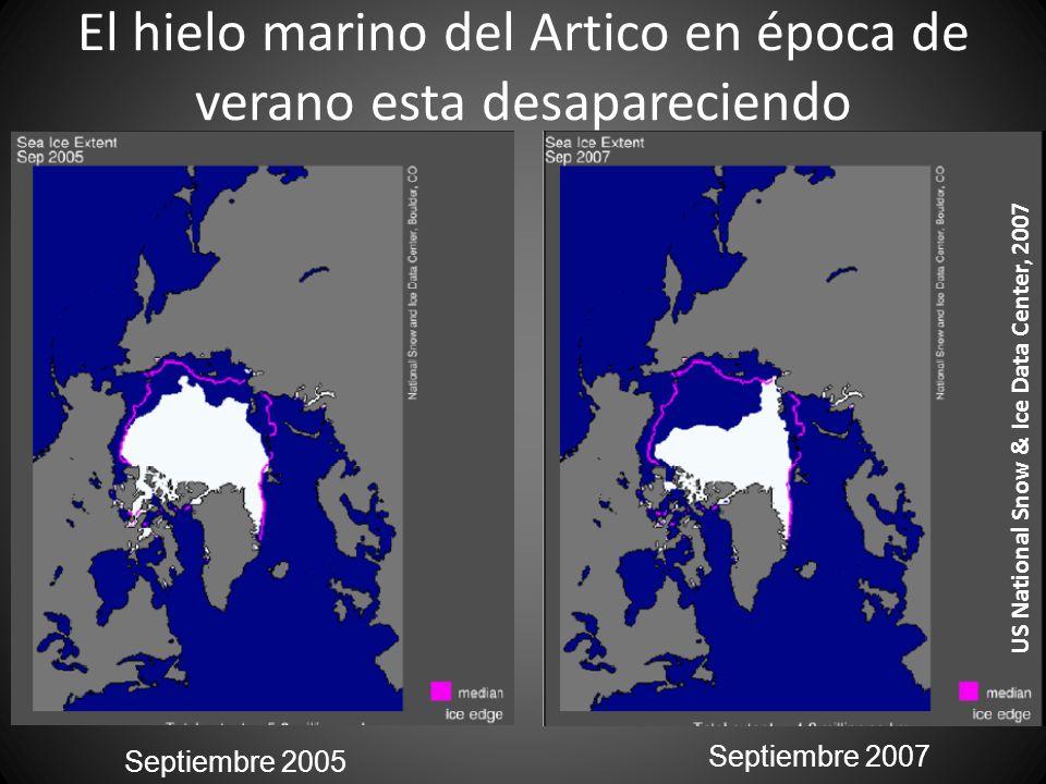 El hielo marino del Artico en época de verano esta desapareciendo Septiembre 2005 Septiembre 2007 US National Snow & Ice Data Center, 2007