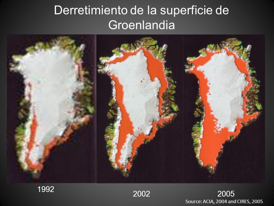 Derretimiento de la superficie de Groenlandia 1992 20022005 Source: ACIA, 2004 and CIRES, 2005
