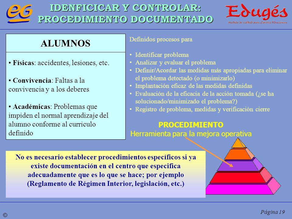 © Página 19 IDENFICICAR Y CONTROLAR: PROCEDIMIENTO DOCUMENTADO PROCEDIMIENTO Herramienta para la mejora operativa ALUMNOS Físicas: accidentes, lesione