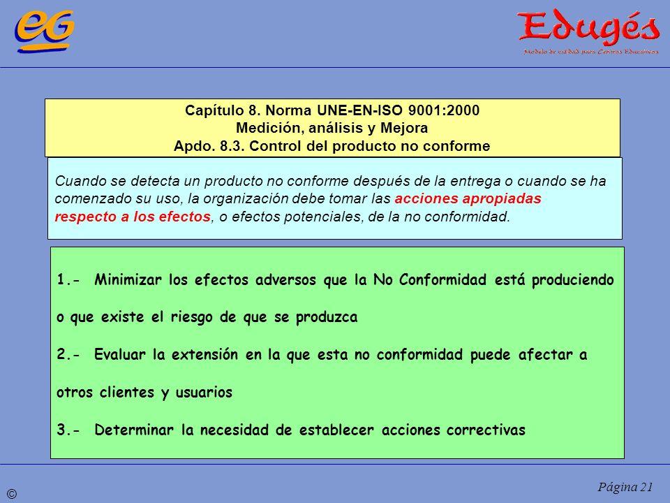 © Página 21 Cuando se detecta un producto no conforme después de la entrega o cuando se ha comenzado su uso, la organización debe tomar las acciones a