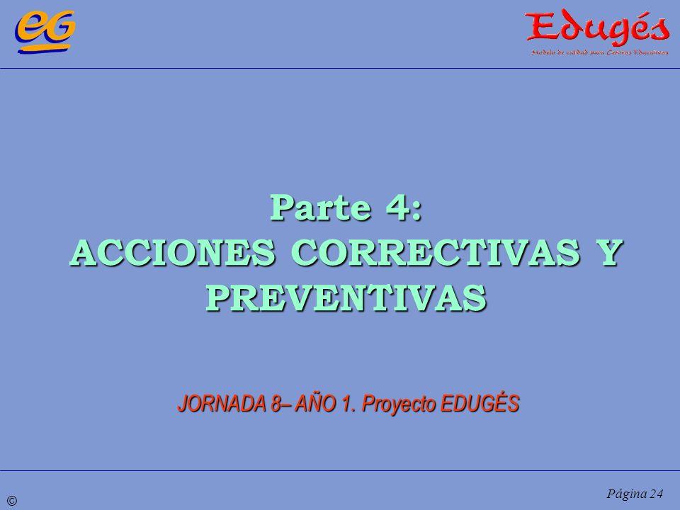 © Página 24 Parte 4: ACCIONES CORRECTIVAS Y PREVENTIVAS JORNADA 8– AÑO 1. Proyecto EDUGÉS