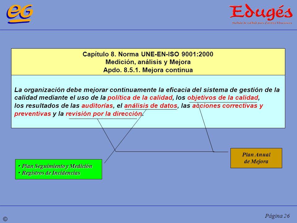 © Página 26 Capítulo 8. Norma UNE-EN-ISO 9001:2000 Medición, análisis y Mejora Apdo. 8.5.1. Mejora continua La organización debe mejorar continuamente